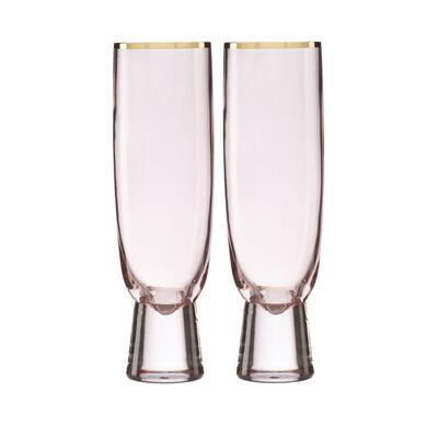Trianna Blush 2-Piece Pink Flute Glassware Set, , default