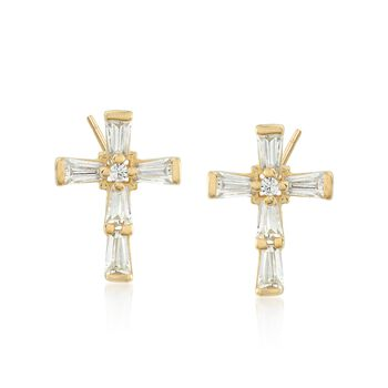 .53 ct. t.w. Baguette and Round CZ Cross Earrings in 18kt Gold Over Sterling, , default