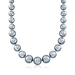 "8-16mm Gray Shell Pearl Necklace With Sterling Silver. 18"", , default"