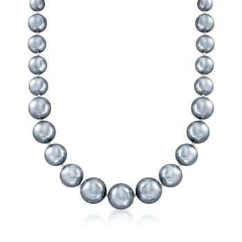 """8-16mm Gray Shell Pearl Necklace With Sterling Silver. 18"""", , default"""