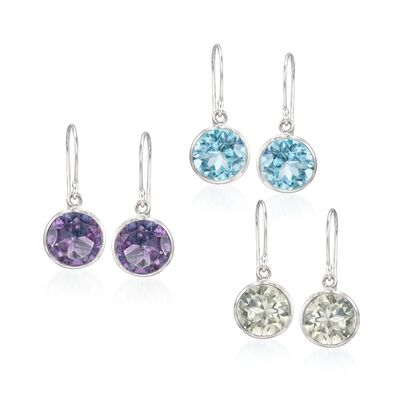 15.00 ct. t.w. Multi-Stone Jewelry Set: Three Pairs of Drop Earrings in Sterling Silver, , default