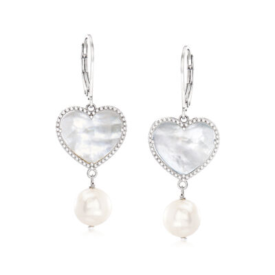 8.5-9mm Cultured Pearl and 15mm Mother-Of-Pearl Heart Drop Earrings in Sterling Silver