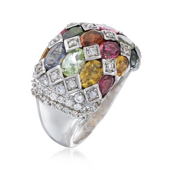 6.90 ct. t.w. Multicolored Tourmaline and .80 ct. t.w. White Zircon Ring in Sterling Silver, , default
