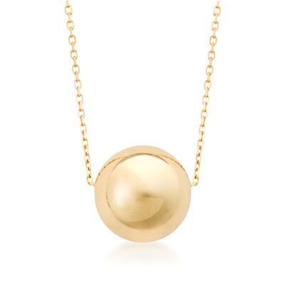 14kt Yellow Gold Single Bead Necklace, , default