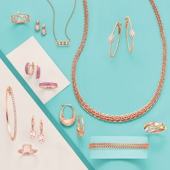 Wheat-Link Graduated Necklace in 14kt Rose Gold, , default