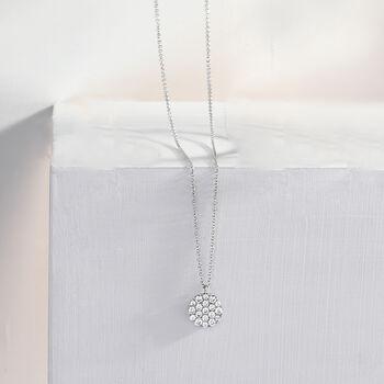 "Gabriel Designs .48 ct. t.w. Pave Diamond Disc Necklace in 14kt White Gold. 15.5"", , default"