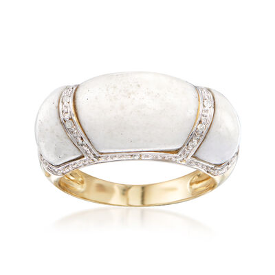 5.5-10x8-9mm White Agate Ring in 14kt Yellow Gold with Diamond Accents, , default