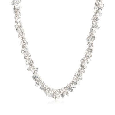 Italian Sterling Silver Confetti Necklace, , default