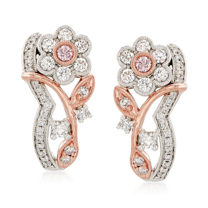 Simon G. .51 ct. t.w. White and Pink Diamond Floral Earrings in 18kt Two-Tone Gold