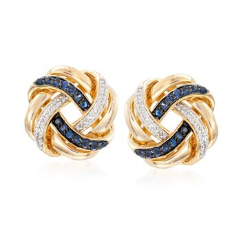.40 ct. t.w. Sapphire and .10 ct. t.w. Diamond Love Knot Earrings in 18kt Gold Over Sterling , , default