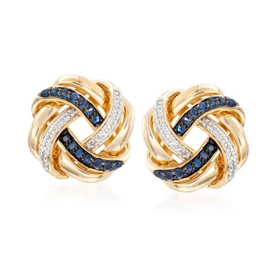 .40 ct. t.w. Sapphire and .10 ct. t.w. Diamond Love Knot Earrings in 18kt Gold Over Sterling, , default