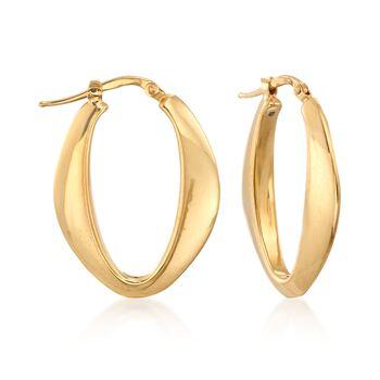 "Italian 18kt Yellow Gold Tapered Oval Hoop Earrings. 1 1/8"", , default"
