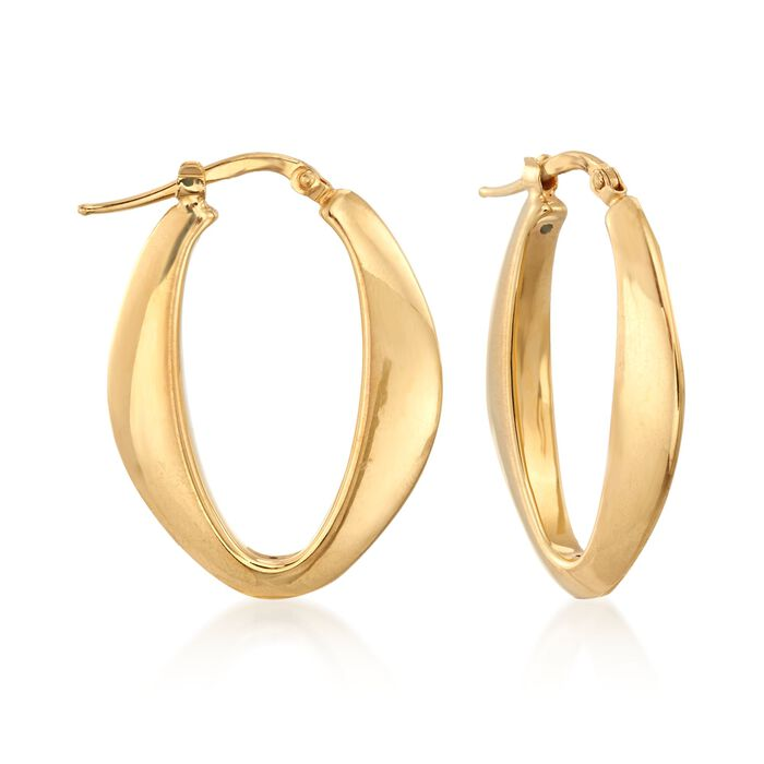 "Italian 18kt Yellow Gold Tapered Oval Hoop Earrings. 1 1/8"", , default"