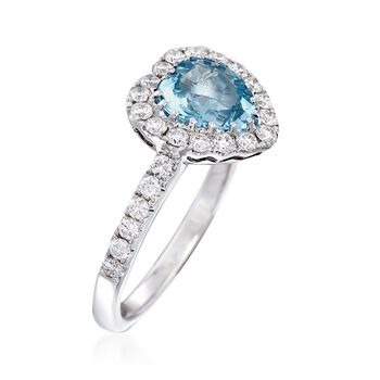1.50 Carat Aquamarine and .67 ct. t.w. Diamond Heart Ring in 18kt White Gold, , default