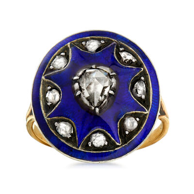 C. 1900 Vintage .65 ct. t.w. Diamond and Blue Enamel Ring in 14kt Yellow Gold with Sterling Silver, , default