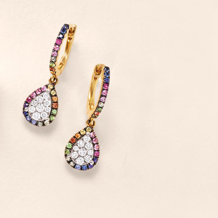 .40 ct. t.w. Multicolored Sapphire and .30 ct. t.w. Diamond Drop Earrings with Garnet Accents in 14kt Yellow Gold