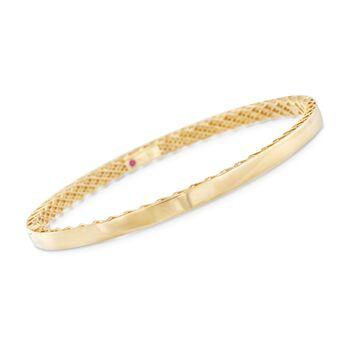 "Roberto Coin ""Symphony"" Golden Gate Bangle Bracelet in 18kt Yellow Gold. 7"", , default"