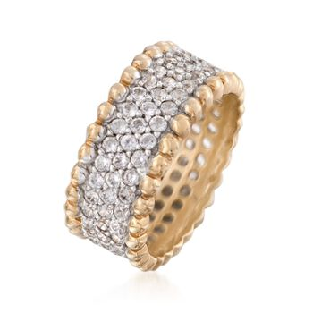 1.95 ct. t.w. CZ Beaded Ring in Two-Tone Sterling Silver, , default