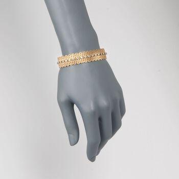 "C. 1960 Vintage 1.80 ct. t.w. Diamond Wide Woven Bracelet in 18kt Yellow Gold. 7.5"", , default"