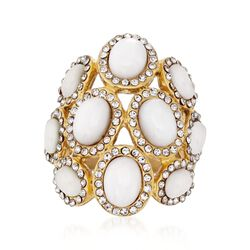 White Resin Dome Ring With Swarovski Crystals in Gold-Plated Stainless Steel. Size 9, , default