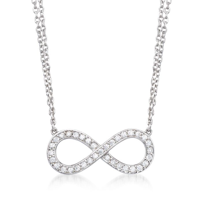 """.25 ct. t.w. CZ Infinity Necklace in Sterling Silver. 15.75"""", , default"""