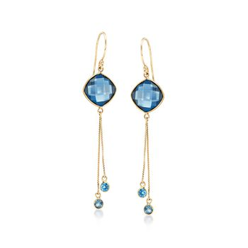 8.85 ct. t.w. London Blue Topaz Tassel Drop Earrings in 14kt Yellow Gold, , default
