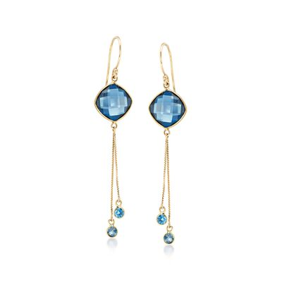 8.85 ct. t.w. London Blue Topaz Tassel Drop Earrings in 14kt Yellow Gold , , default