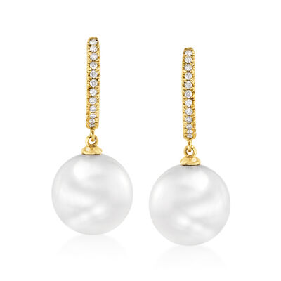 10-11mm Cultured South Sea Pearl and .11 ct. t.w. Diamond Hoop Drop Earrings in 14kt Yellow Gold