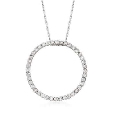 1.00 ct. t.w. Diamond Eternity Circle Pendant Necklace in Sterling Silver