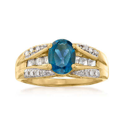 C. 1980 Vintage 1.80 ct. t.w. Blue Topaz and .10 ct. t.w. Diamond Ring in 10kt Yellow Gold