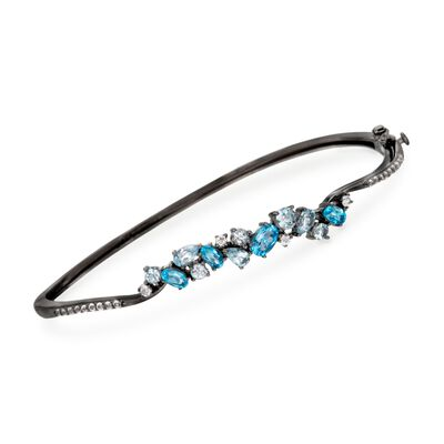 2.60 ct. t.w. Tonal Blue and White Topaz Bangle Bracelet in Sterling Silver, , default
