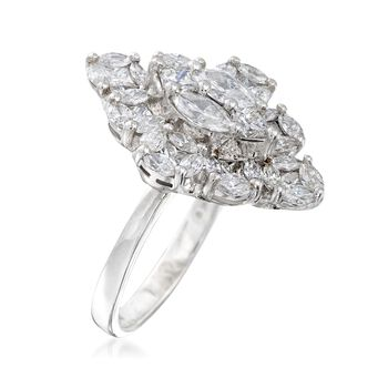 2.21 ct. t.w. Marquise-Shaped Diamond Ring in 14kt White Gold. Size 9, , default