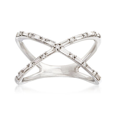 29 ct. t.w. Diamond Crisscross Ring in 14kt White Gold, , default