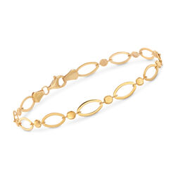 22kt Yellow Gold Circle and Oval-Link Bracelet, , default