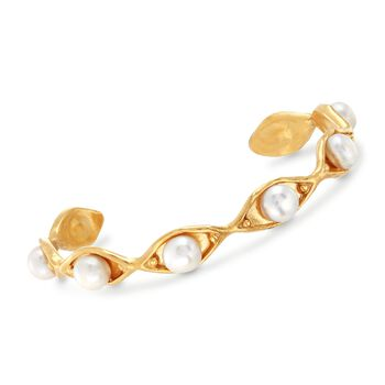 6.5-7mm Cultured Pearl Cuff Bracelet in 18kt Yellow Gold Over Sterling Silver, , default