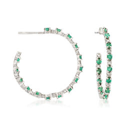 C. 1990 Vintage 1.40 ct. t.w. Emerald and .35 ct. t.w. Diamond Inside-Outside Hoop Earrings in 10kt White Gold, , default