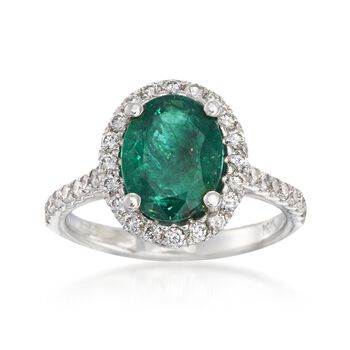 2.20 Carat Emerald and .55 ct. t.w. Diamond Ring in 14kt White Gold, , default
