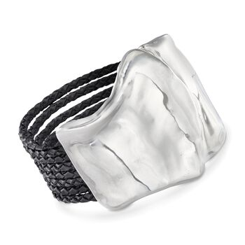 Sterling Silver Free-Form Bracelet With Black Leather Braided Cords, , default
