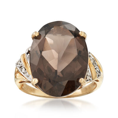 C. 1980 Vintage 10.75 Carat Smoky Quartz Ring in 10kt Yellow Gold, , default