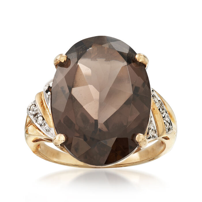 C. 1980 Vintage 10.75 Carat Smoky Quartz Ring in 10kt Yellow Gold. Size 6.5, , default