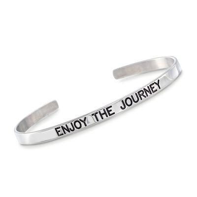 """Italian Sterling Silver """"Enjoy the Journey"""" Cuff Bracelet with Black Enamel, , default"""