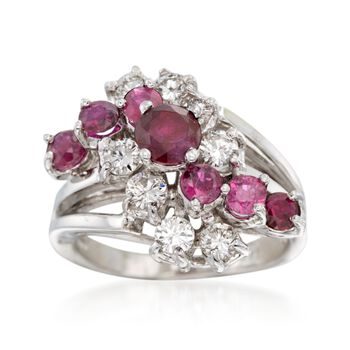 C. 1970 Vintage 1.35 ct. t.w. Ruby and 1.10 ct. t.w. Diamond Ring in 14kt White Gold. Size 6.25, , default