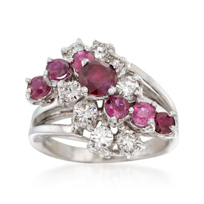 C. 1970 Vintage 1.35 ct. t.w. Ruby and 1.10 ct. t.w. Diamond Ring in 14kt White Gold, , default