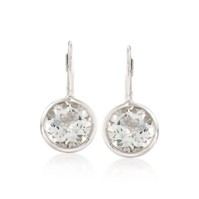 11.00 ct. t.w. Bezel-Set White Topaz Earrings in Sterling Silver