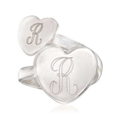 Italian Sterling Silver Two-Initial Double Heart Bypass Ring, , default