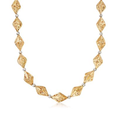 Italian 14kt Two-Tone Geometric Filigree Necklace, , default