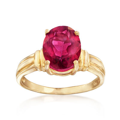 C. 1980 Vintage 3.15 Carat Pink Topaz Ring in 10kt Yellow Gold, , default