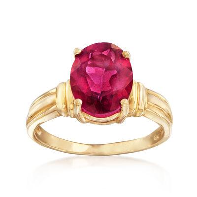 C. 1980 Vintage 3.15 Carat Pink Topaz Ring in 10kt Yellow Gold, , default
