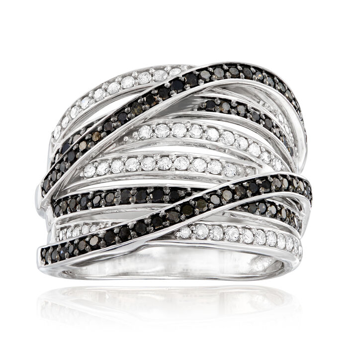 1.00 ct. t.w. Black and White Diamond Highway Ring in Sterling Silver