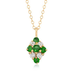 C. 1980 Vintage .65 ct. t.w. Emerald and .35 ct. t.w. Diamond Pendant Necklace in 14kt Yellow Gold, , default